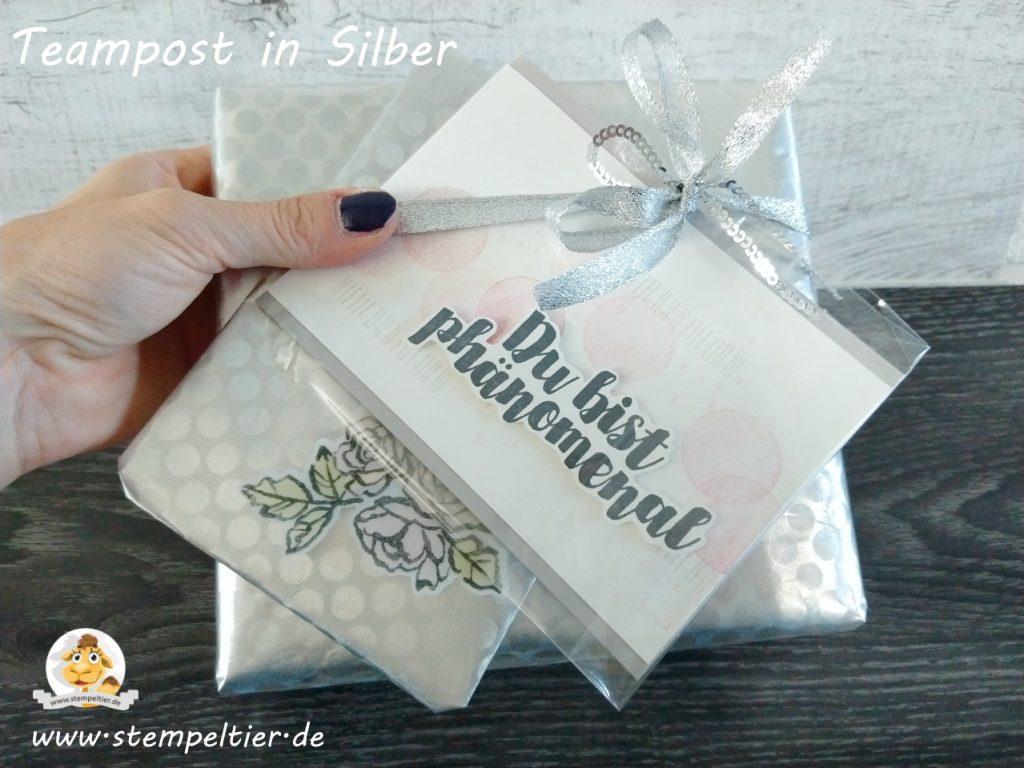 stampin up titelaustieg teampost silber rebecca metallbox verpackung geschenk stempeltier