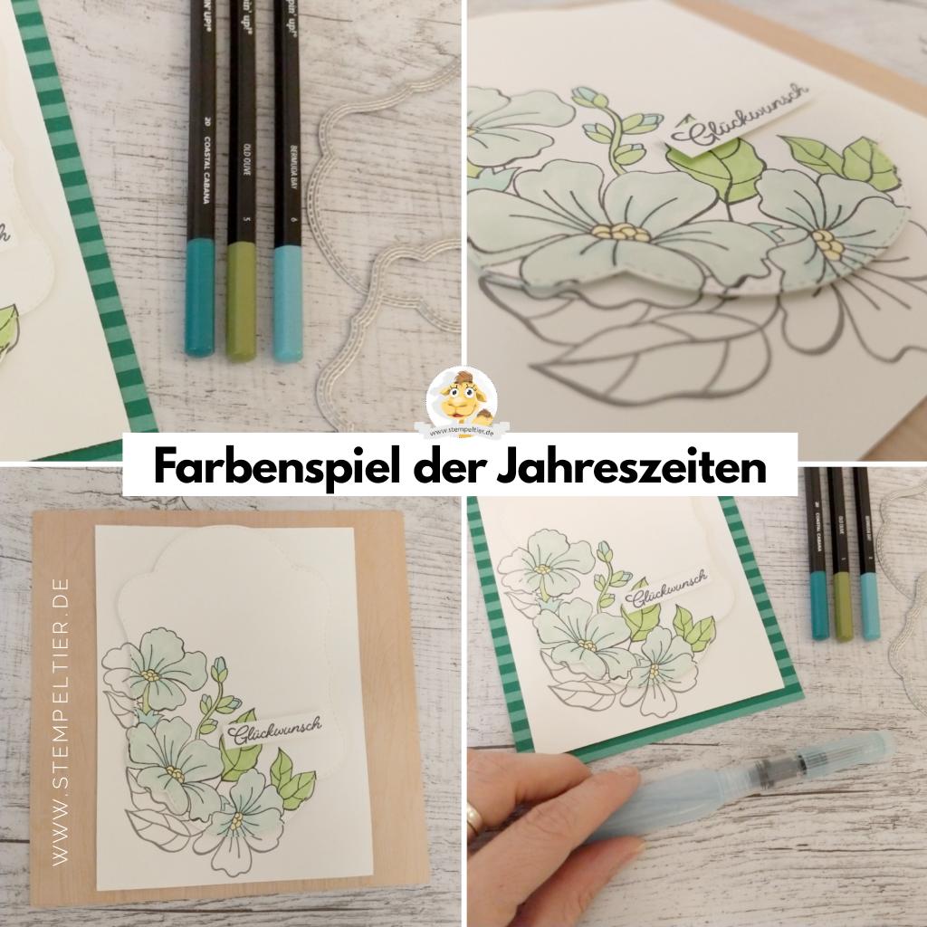stampin up farbenspiel der jahreszeiten aquarell colorieren stitched seasons blumen karte