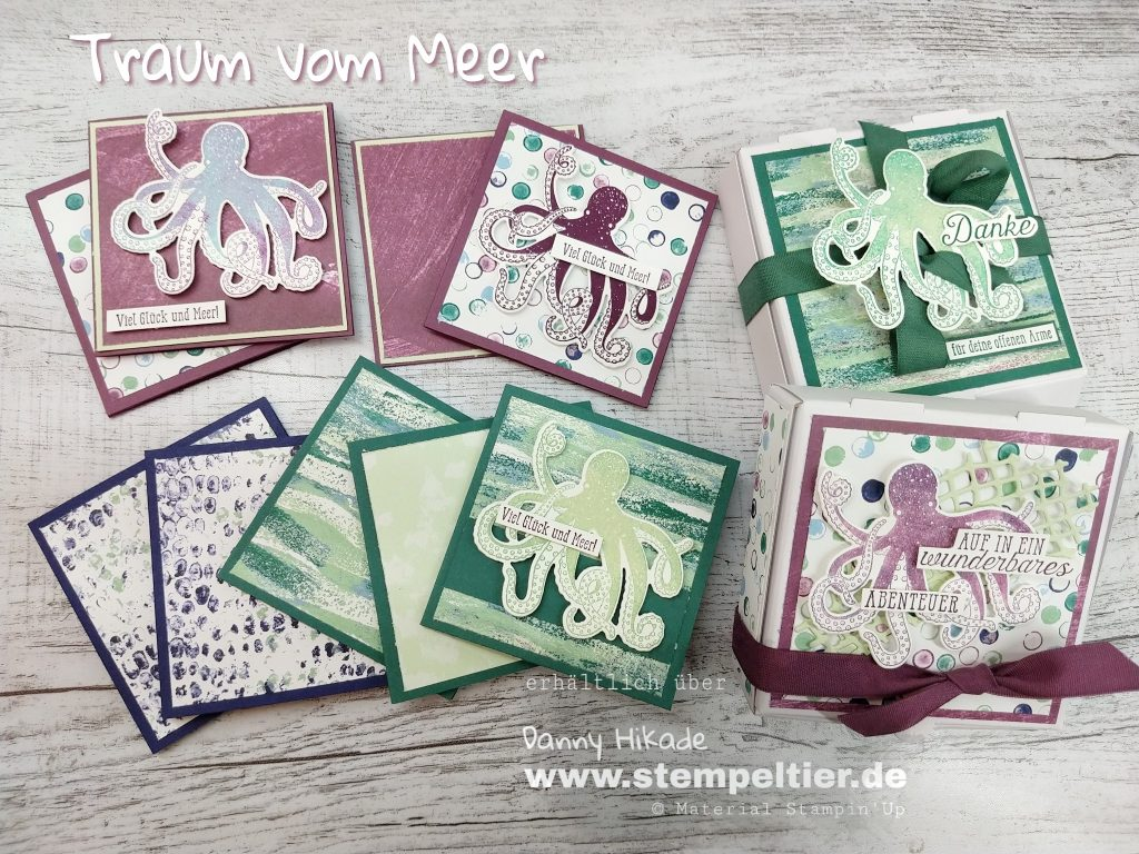 Stampin Up DSP Traum vom Meer Krake tranquil textures tide DSP pizzabox geschenk Verpackung