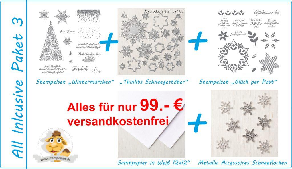 produktpaket all inclusive 3 glück per post wintermärchen und thinlits schneegestöber stampin up stempeltier