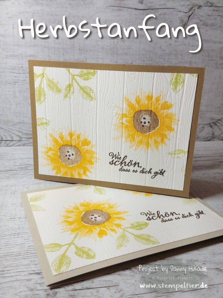 stampin up sonnenblume sunflower woodgrain herbstanfang stempeltier