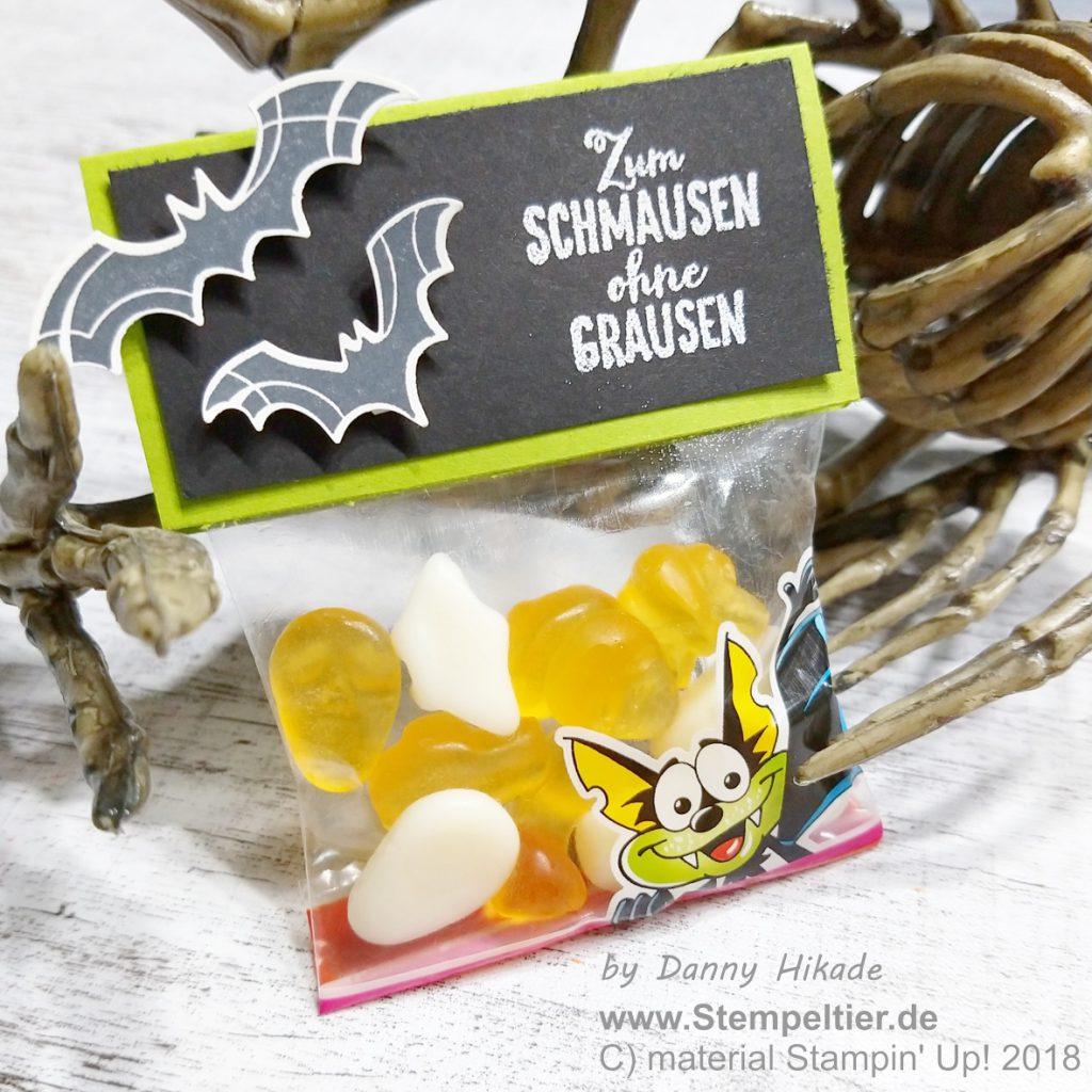 stampin up unheimlich lecker halloween verpackung gummibärchen fledermaus