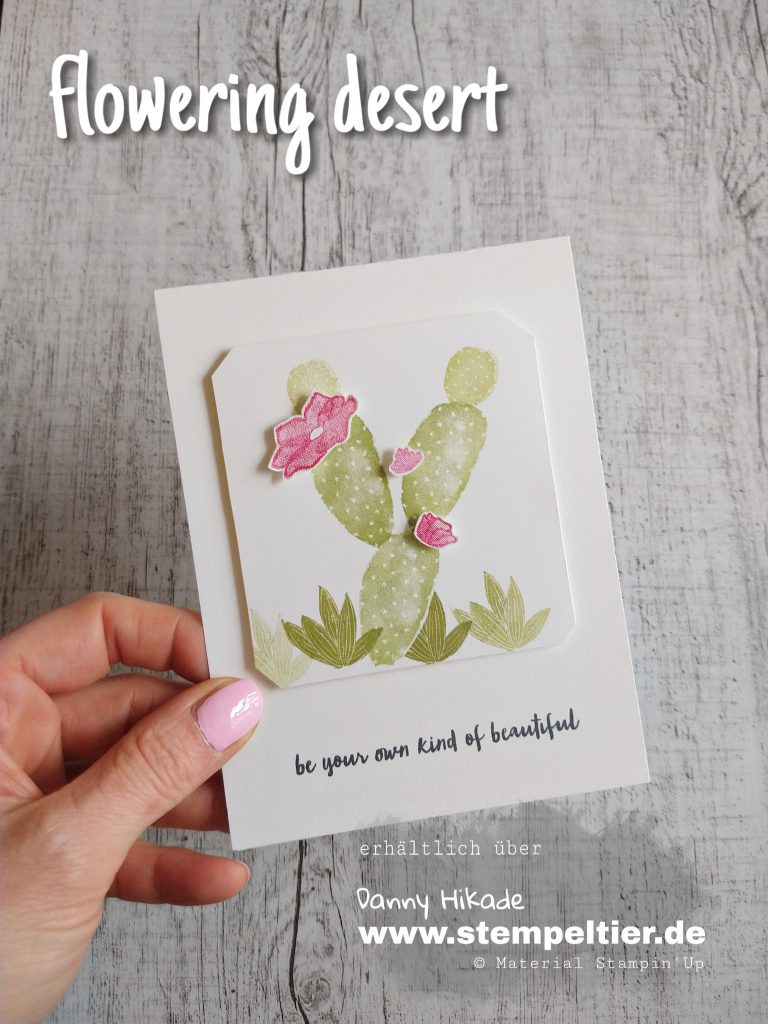 stampin up flowering desert kaktus kakteen crackle paint stempeltier