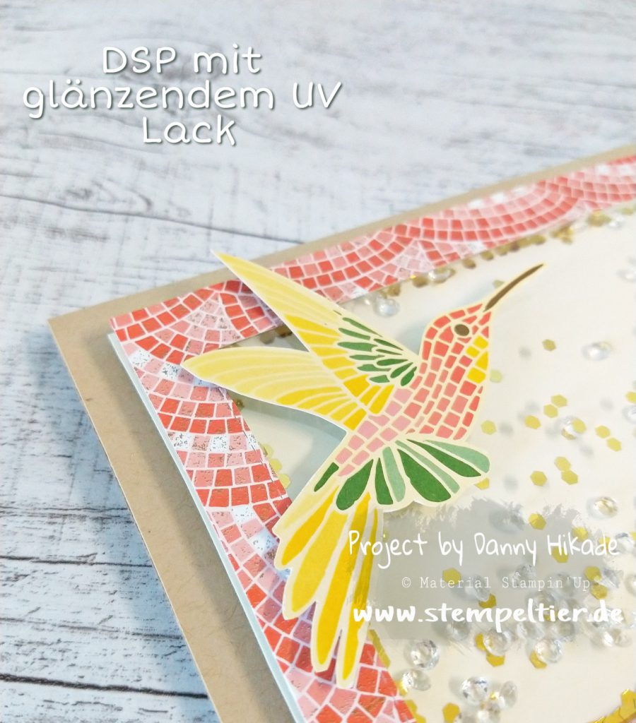stampin up 2019 2020 Jahreskatalog schüttelkarte märchenhaftes Mosaik DSP Rose Stempeltier Kolibri