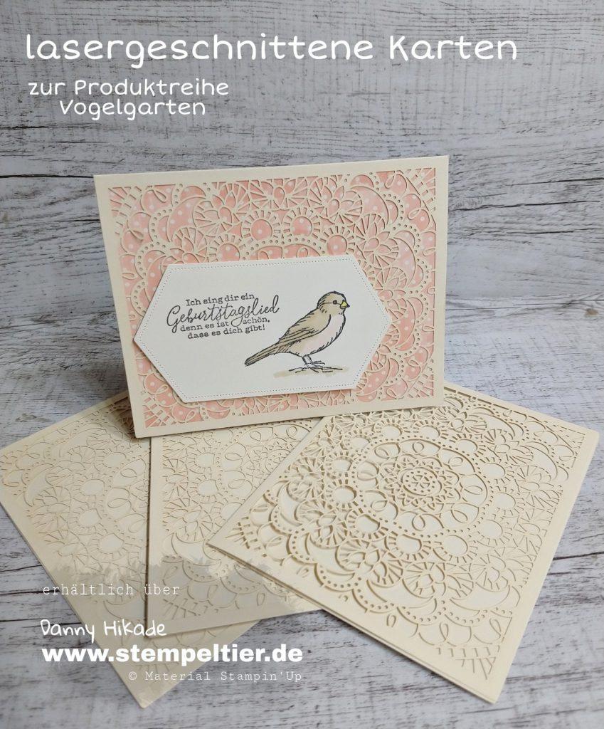 stampin up vogelgarten lasergeschnittene Karten metalldose vogelgruß vögel bird ballad