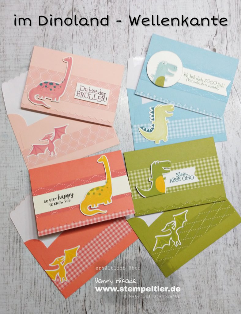 Stampin'up scalloped notecards dinosaur im Dinoland Wellenkante