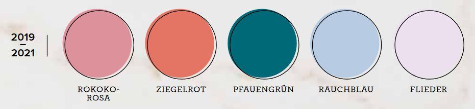 incolor farben 2019 2021 rauchblau ziegelrot rokokorosa flieder pfauengrün