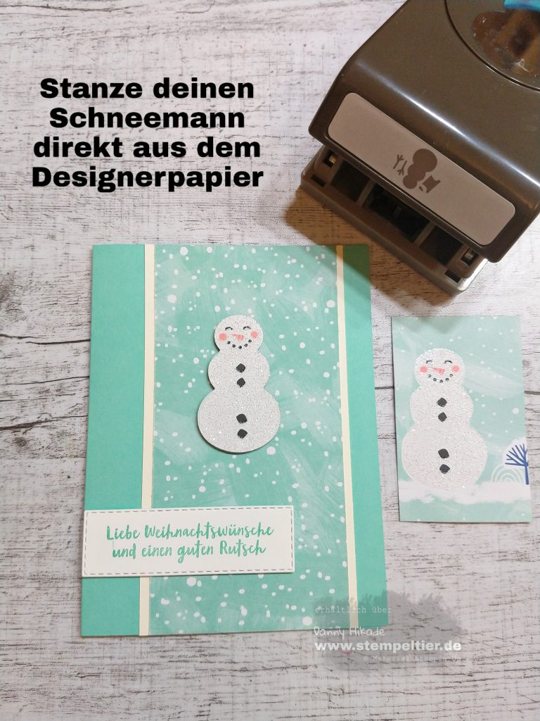 stampin up let it snow snowman punch schneemann Stanze Handstanze DSP Stempeltier