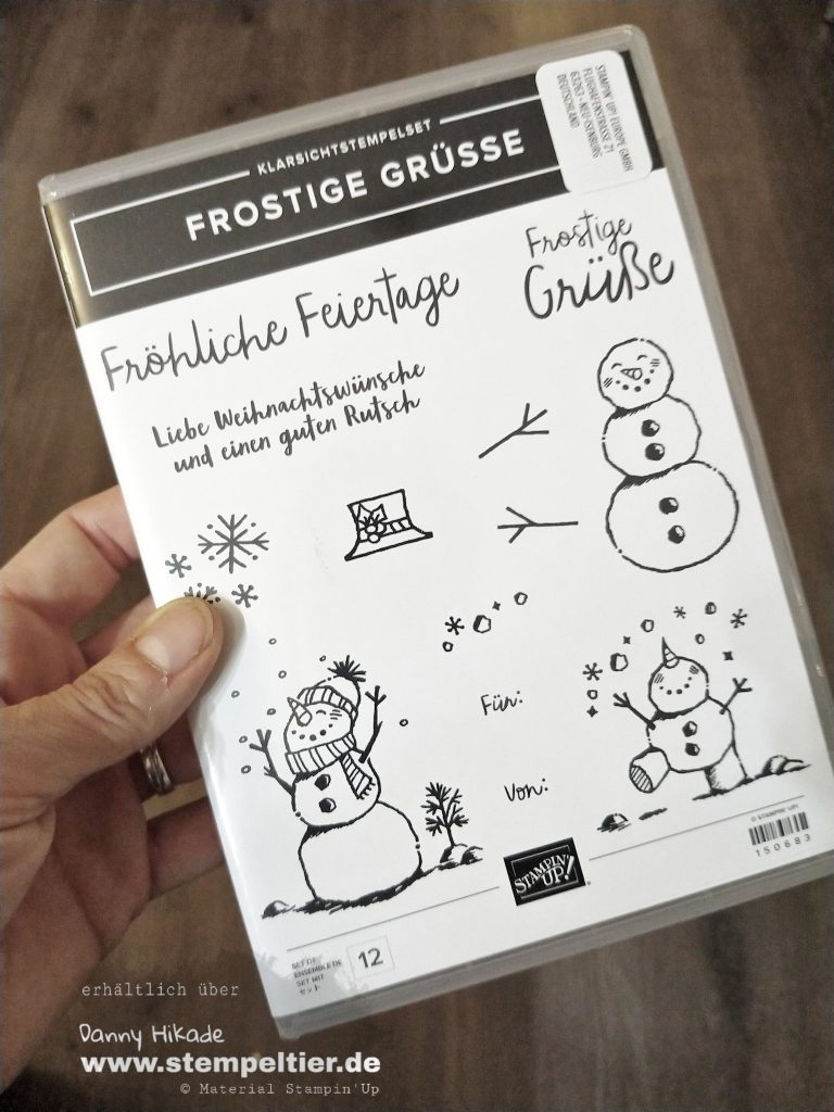 stampin up let it snow frostige Grüße schneemann Handstanze DSP Stempeltier
