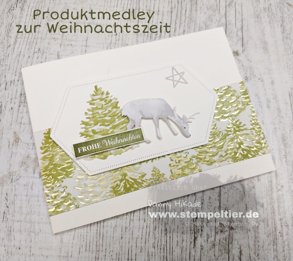 Stampin Up Produktmedley zur Weihnachtszeit hirsch stempeltier weihnachtskarte the most wonderful time