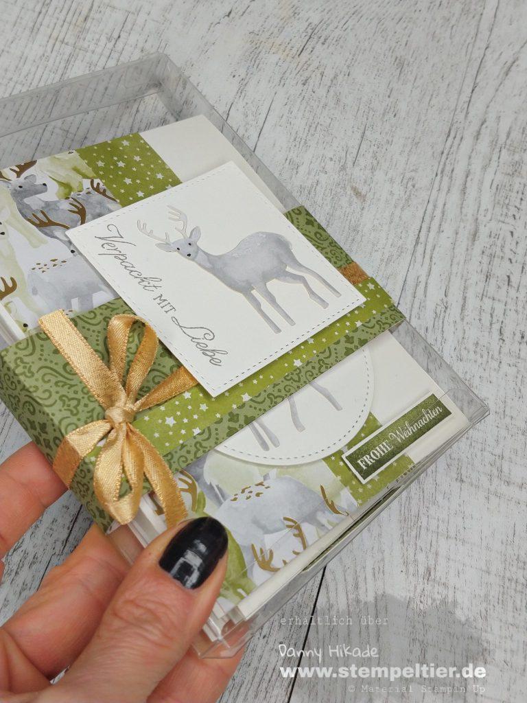 Stampin Up Produktmedley zur Weihnachtszeit hirsch stempeltier weihnachtskarte Acetatschachtel verpackung