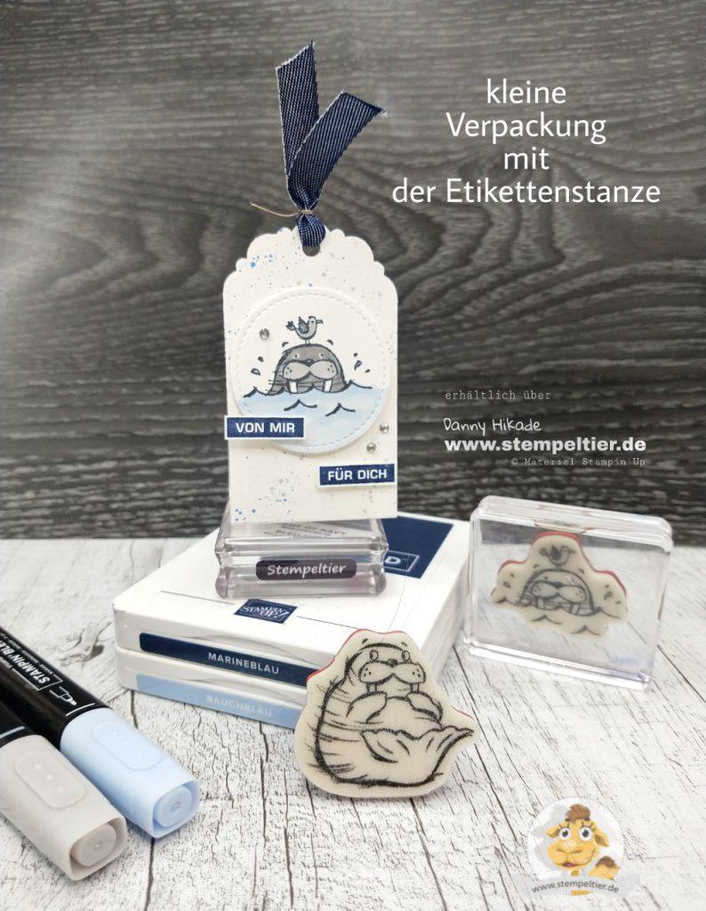 stampin up geschenk goodie verpackung Anleitung walroß well walrus be friends anhänger etikett stempeltier