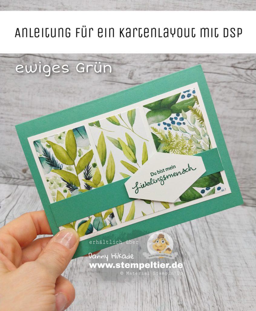 Stampin Up Anleitung Kartensketch Layout Ewiges Grün Stempeltier