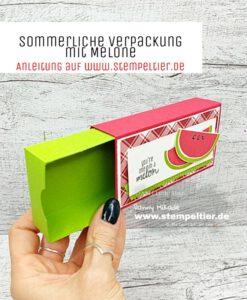 stampin up anleitung verpackung tachentücher box schiebebox melone cute fruit stempeltier