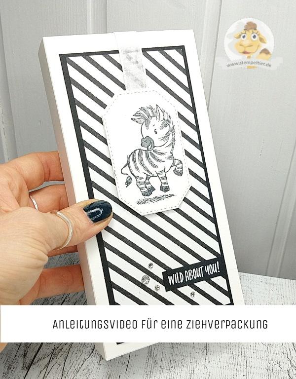 Stampin Up Anleitung ziehverpackung Servietten zebra video
