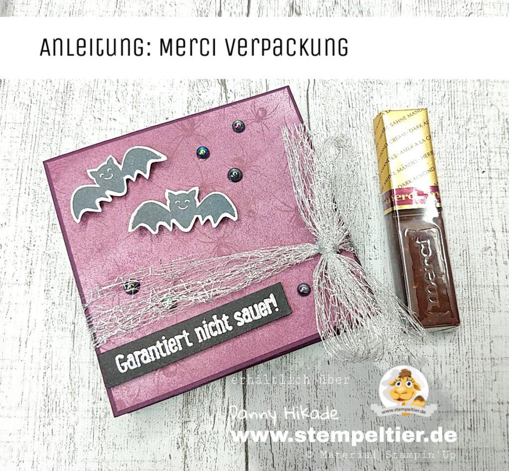 stampin up verpackung merci schokolade halloween anleitung video stempeltier