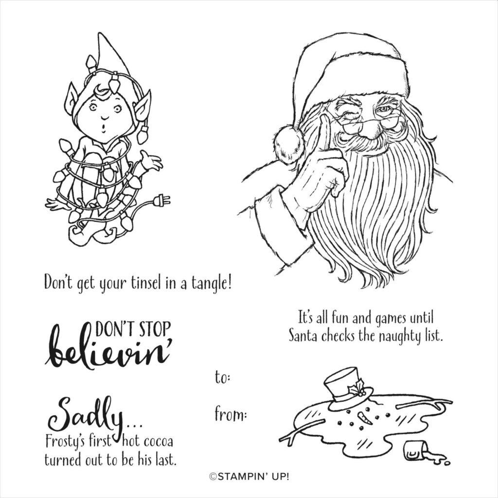 stampin up dont stop believin santa weihnachtsmann schneemann elfe