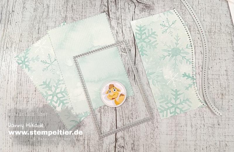 Stampin'Up Schneeflocken Traum DSP Verpackung schön schwungvoll Stempeltier