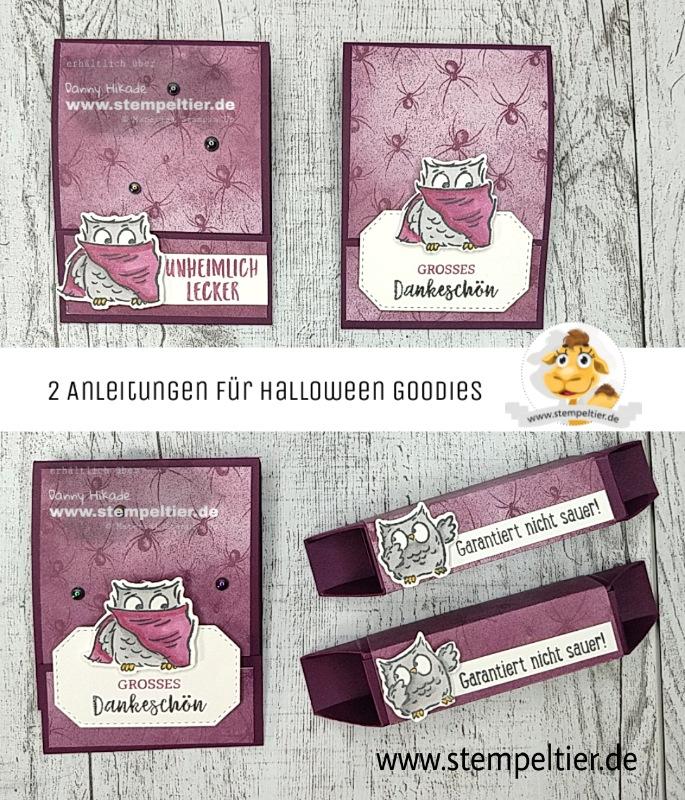 stampin up anleitung verpackung halloween eulenfest tee gummibärchen