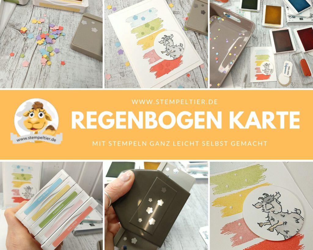 Stampin up pinselstriche rainbow Regenbogen Karte