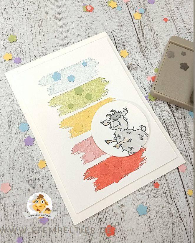 regenbogen karte mit stampin up pastellfarben und Ziege rainbow