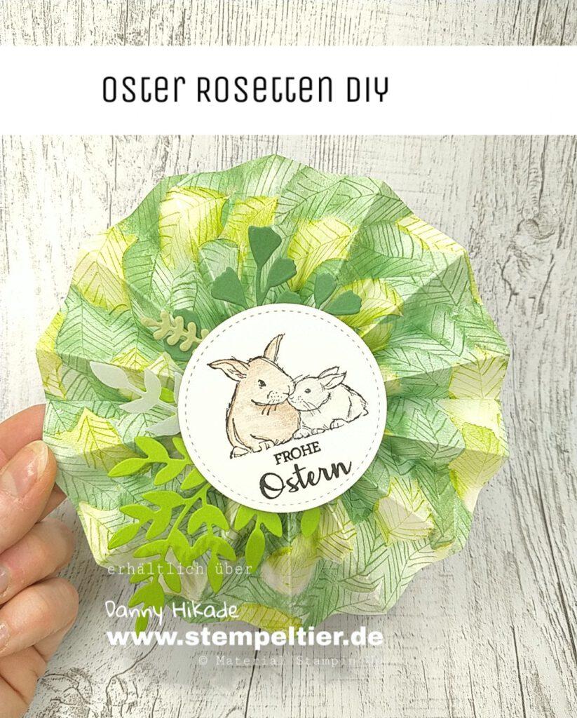 stampin up oster projekt diy rosette blumenstecker hase