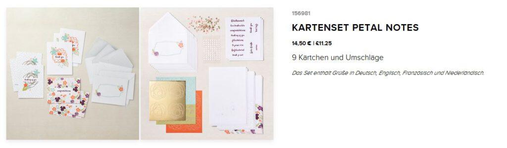 kartenset kit stampin up blumen petal notes