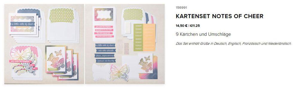 kartenset kit stampin up notes of cheer schmetterling