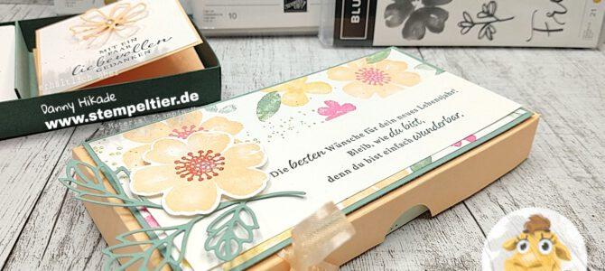 Anleitung für Verpackung von Mini Grußkärtchen – Blumen voller Freude