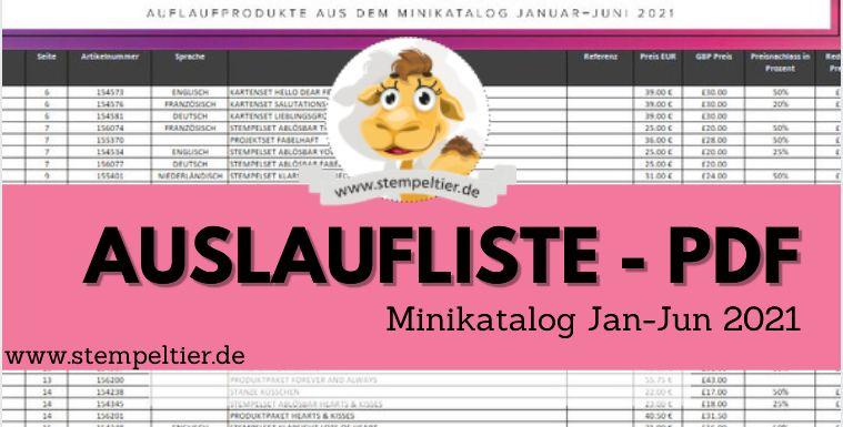 stampin up auslaufliste minikatalog jan juni 2021 PDF schnäppchen