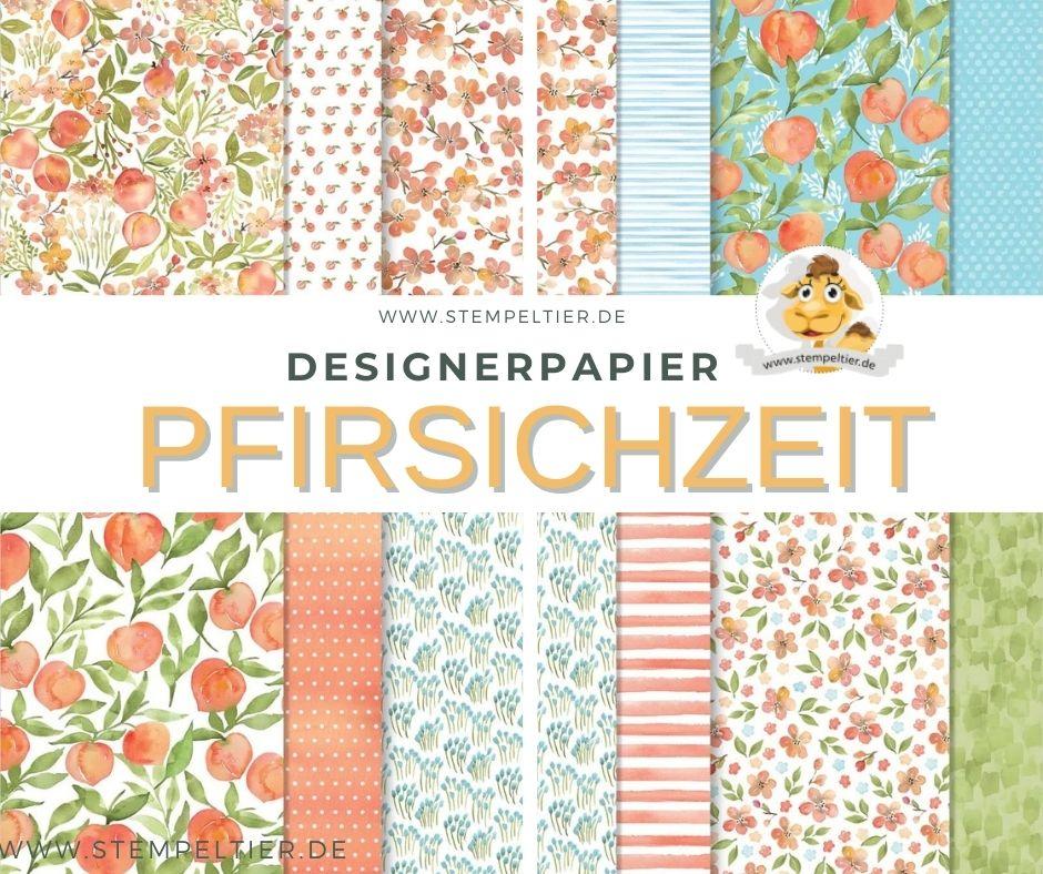 pfirsichzeit stampin up designerpapier DSP Peach stempeltier