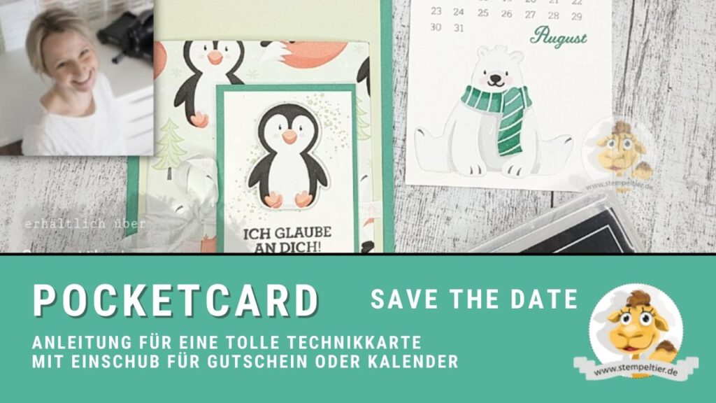 stampin up anleitung pocketcard technikkarte stempeltier pinguin
