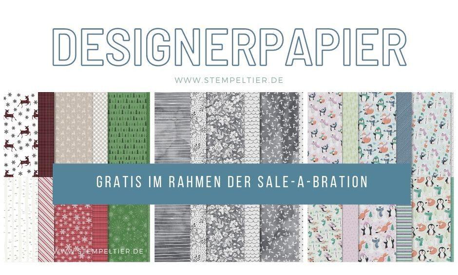 stampin up gratis designerpapier saleabration pinguin hirsch reh