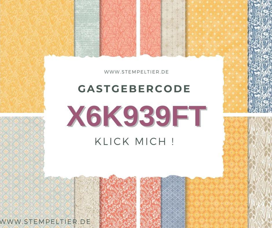 Gastgebercode STAMPIN UP HOSTCODE SEPTEMBER STEMPELTIER