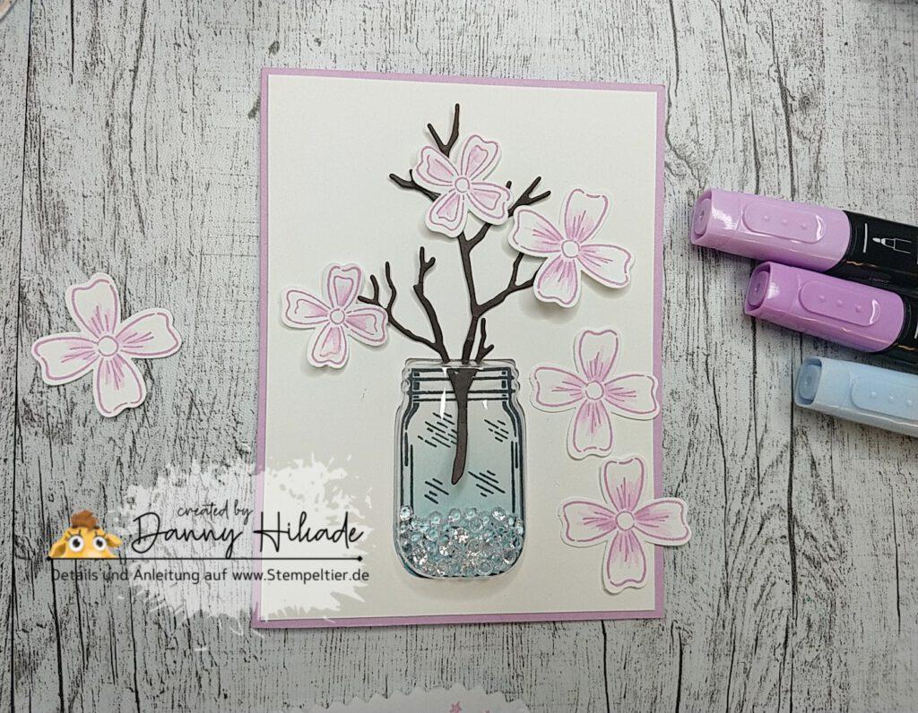 stampin up stampenup schüttelkarte einmachglas jar of flowers shaker card